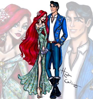 Hayden Williams Fashion Illustrations 'Disney Darling Couples' by Hayden Williams: Ariel & Prince Eric