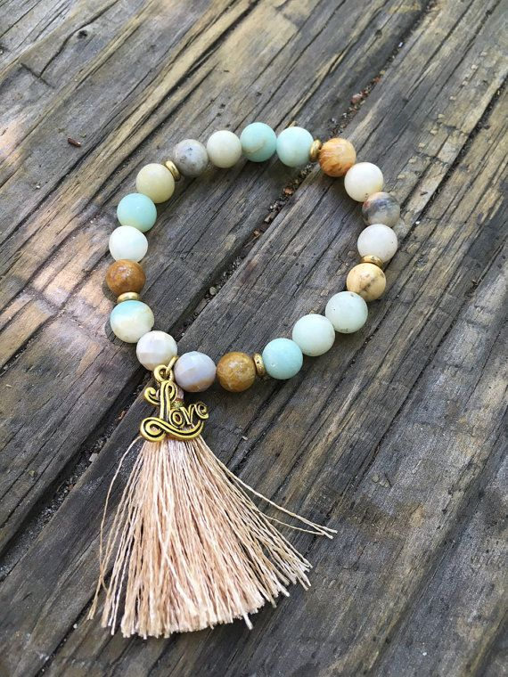 By the Sea Amazonite / Ocean Jasper / Love Beaded Bracelet