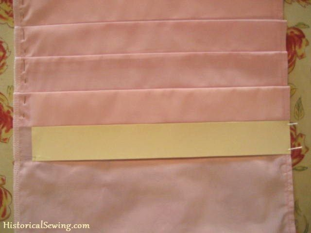 Techniques for Easier Pleating in 19th Century Costuming: Pleating w-card Step 1