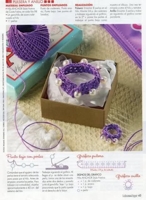 Patrón para realizar pulsera a crochet con abalorios
