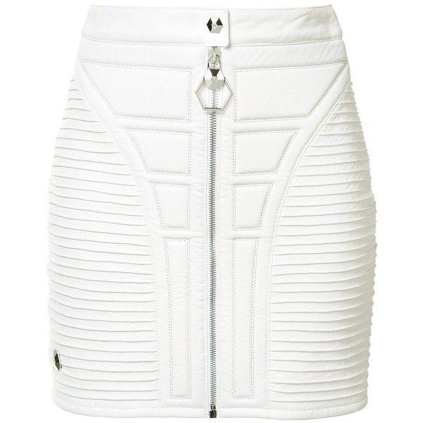 Philipp Plein stitched panel mini skirt ($2,382) ❤ liked on Polyvore featuring skirts, mini skirts, white, short skirts, philipp plein, front zip skirt, button skirt and white skirt