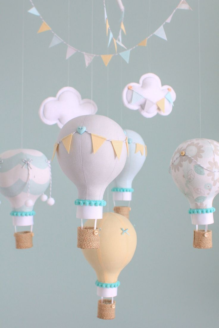 Gender Neutral Baby Mobile, Grey, Aqua and Yellow Hot Air Balloons, Nursery Decor, Unisex Nursery, Custom Baby Mobile, i25 by sunshineandvodka on Etsy https://www.etsy.com/listing/185696172/gender-neutral-baby-mobile-grey-aqua-and