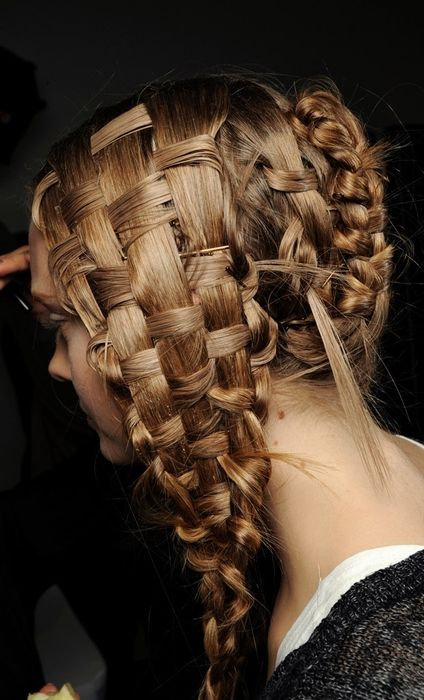 : French Braids, Braids Hair Style, Alexander Mcqueen, Hairstyles, Baskets Weaving, Style Boards, Hair Weaving, Weaving Braids, Braidhair