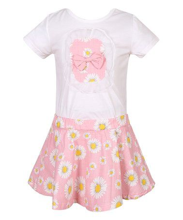 White & Pink Daisy Knit Dress - Toddler & Girls
