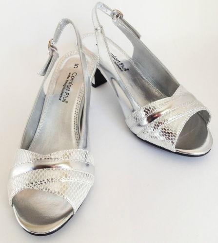 Ladies Silver Evening Wedding Wide Fitting Sandal Shoe