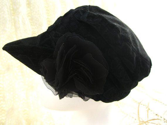 Ladies Black embossed Rose Velvet hat with by BrambleWoodANDivy