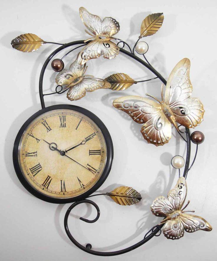 Metal Wall Art - Butterfly Scroll Wall Clock
