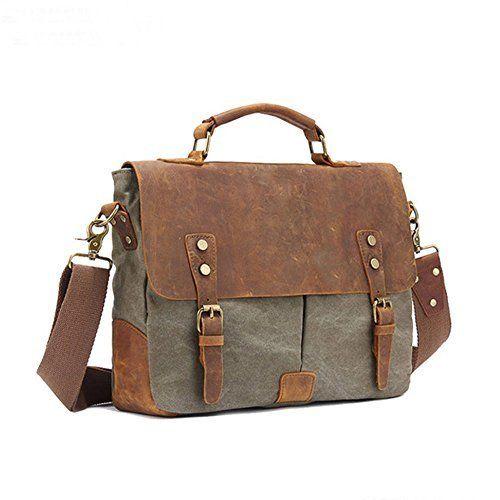 Men's Leather Canvas Laptop Messenger Shoulder Bag Business Briefcase Satchel - Army Green #Men's #Leather #Canvas #Laptop #Messenger #Shoulder #Business #Briefcase #Satchel #Army #Green