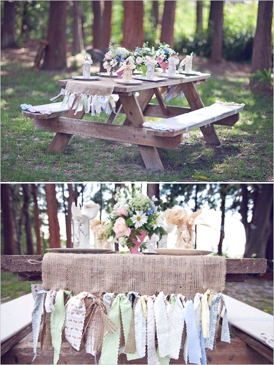 I love this runner and picnic table...but with my wedding colors....never thought about having to decorate those tables TOO