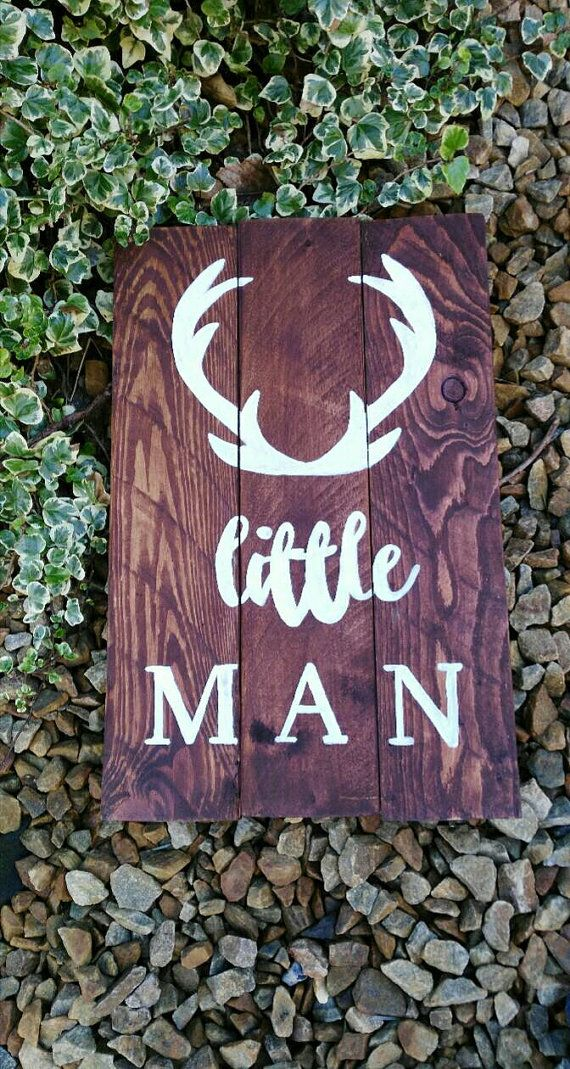 Check out this item in my Etsy shop https://www.etsy.com/uk/listing/265696528/rustic-nursery-woodland-nursery-antlers Antlers, Little Man Rustic wooden nursery sign, woodland nursery, hunting nursery, simple rustic nursery, baby shower gift idea