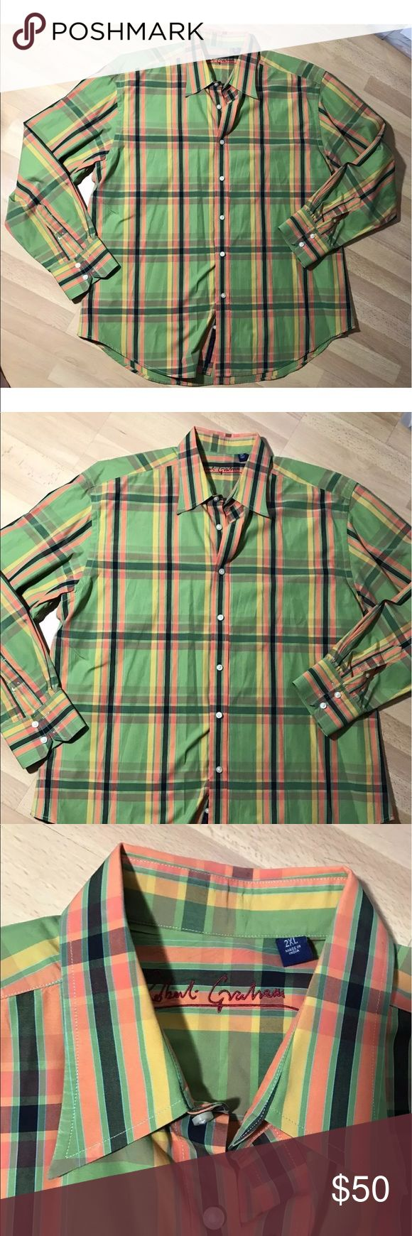 """Robert Graham 2xl xxl plaid button down shirt This listing is for a mens shirt  Brand: Robert Graham 100% authentic Size 2XL Plaid  Very Good, pre-owned condition. free from stains and rips and damage    Measurements (laying flat): Length - 33"""" (bottom of collar to bottom of hem)  Shoulder - 21.5"""" (seam to seam)  Sleeve - 27"""" (shoulder seam to end of cuff)  Chest - 26.5"""" (pit to pit across laying flat) Robert Graham Shirts Casual Button Down Shirts"""