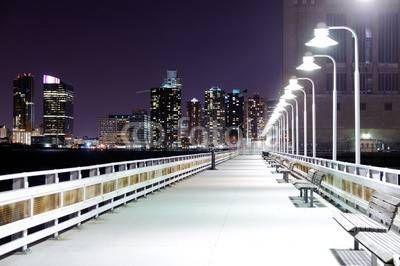 Fototapeta Nowy Jork, Panel szklany Nowy Jork, Fototapety Nowy Jork, Plexi Nowy Jork, nowy jork most molo ławki latarnie światła noc architektura, 50336367