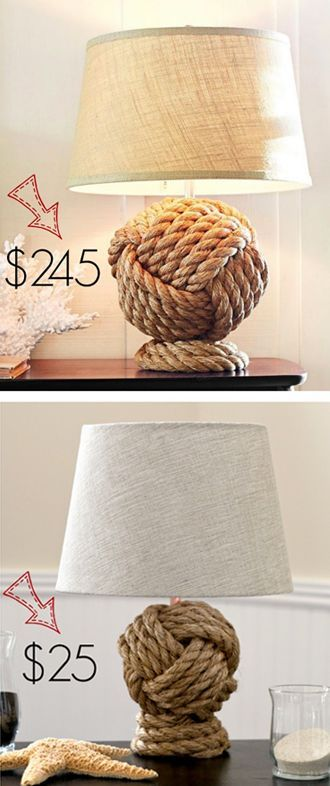 Rope knot table lamp is made from thick nautical rope that is tightly twisted and knotted. Original Pottery Barn Rope Knot Lamp cost 245$. You can make a close replica for just 25$.