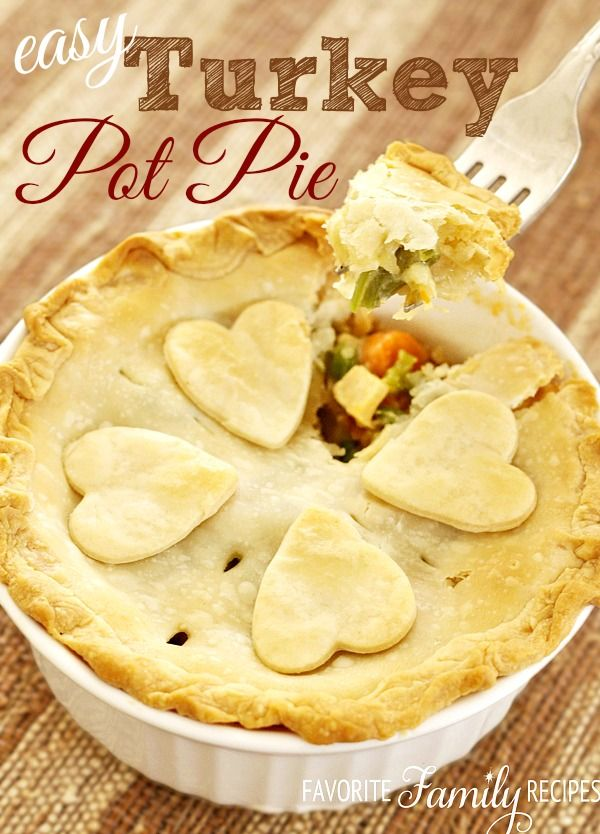 Turkey Pot Pie is my FAVORITE way to use up leftover Thanksgiving turkey. If I have leftover gravy, I throw it in. If I have leftover veggies... I throw them in too! Couldn't be easier and NO cream-of soups! favfamilyrecipes.com #thanksgiving #leftovers