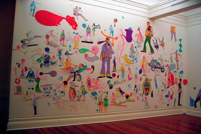 London Town Installation view: Wall painting Sarjeant Gallery, Wanganui, 2008-2009
