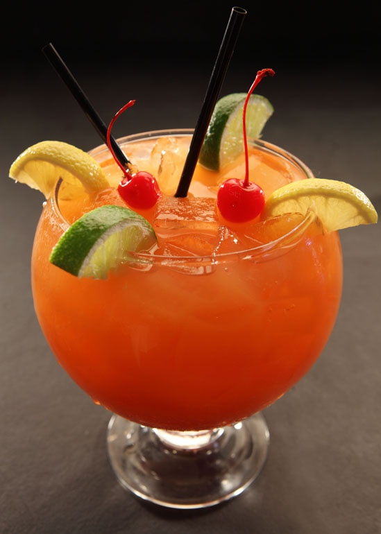 Umami Punch (RA Sushi) - Dive into a 60 ounce blend of Southern Comfort, cold sake, liqueurs & tropical juices; served in a fish bowl (meant for two!): Restaurant