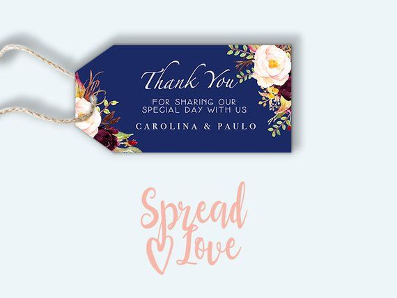 floral navy blue gift tag printable wedding thank you tag name tag