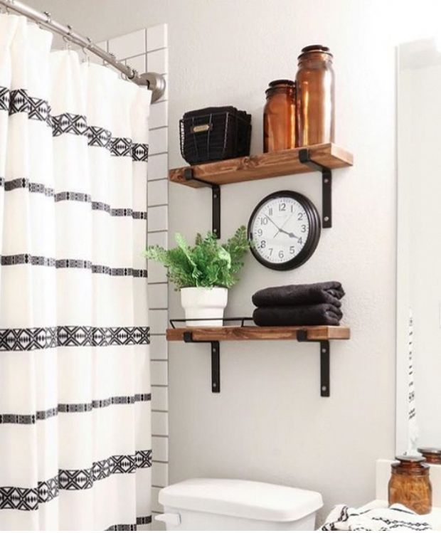 bathroom shelving with wood and metal brackets instead of cabinets above toilet …   – small bathroom ideas