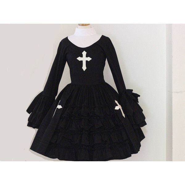 Nun Gothic Lolita Dress Unique Couture High Quality Cosplay Costume... ($375) ❤ liked on Polyvore featuring costumes, gothic halloween costumes, cosplay costumes, role play costumes, ladies halloween costumes and womens gothic costumes