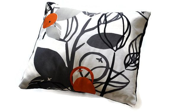Throw Pillow Cover 18 x 18, Decorative Throw Pillow, Neutral pillow case. Pillow case in black, white, and orange abstract floral.
