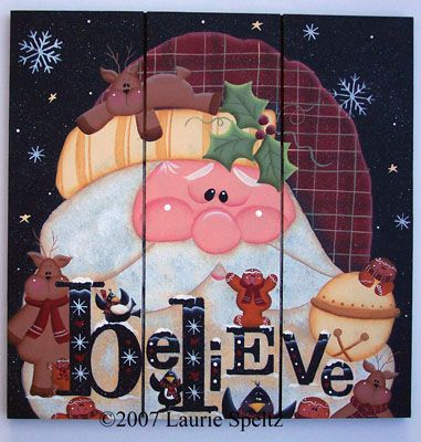 Santa Believe Square grooved board