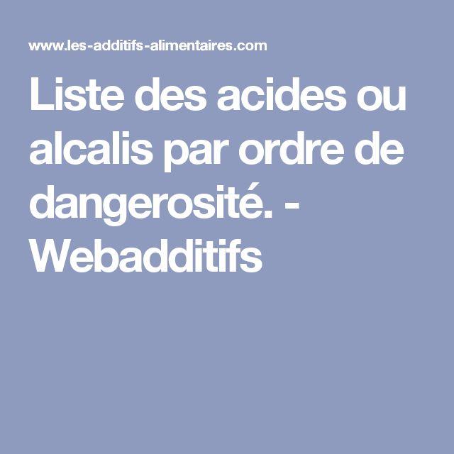 Liste des acides ou alcalis par ordre de dangerosité. - Webadditifs