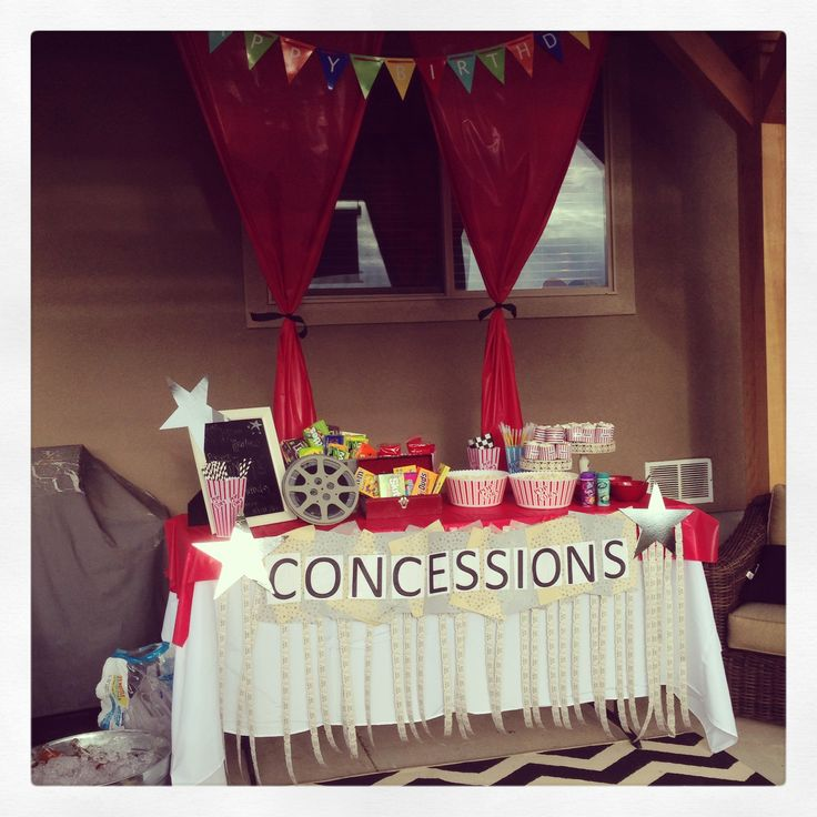 Movie Party Concessions Stand | Party Ideas | Pinterest | Movie Party,  Movie And Birthdays