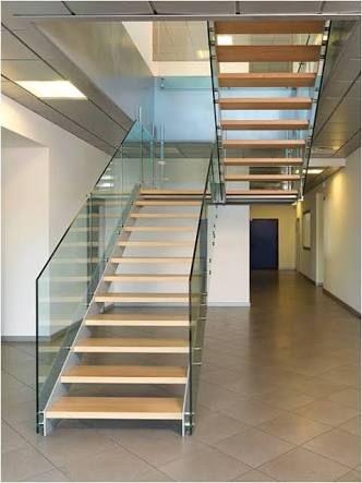 resultado de imagen para escaleras voladas con vidrio
