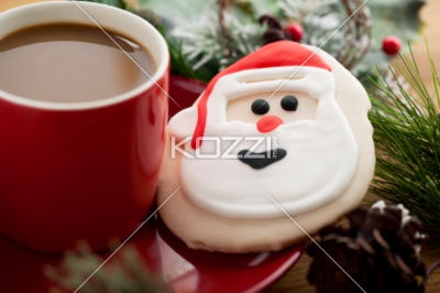 santa claus biscuit - santa claus biscuit and hot chocolate in a red plate