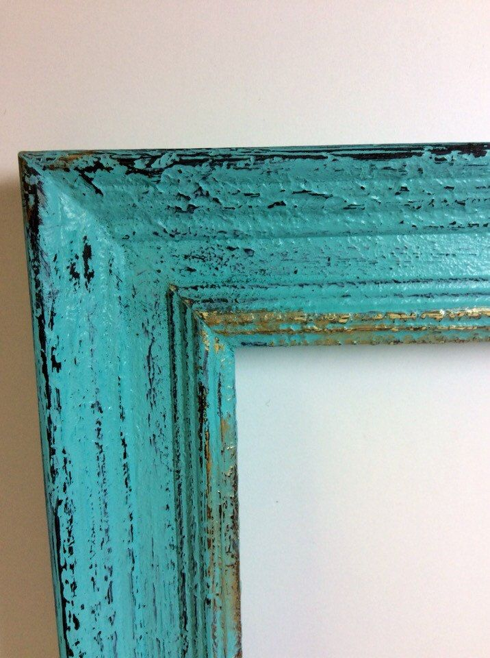 rustic turquoise timber frame distressed photo frame coloured country frame modern blue frame