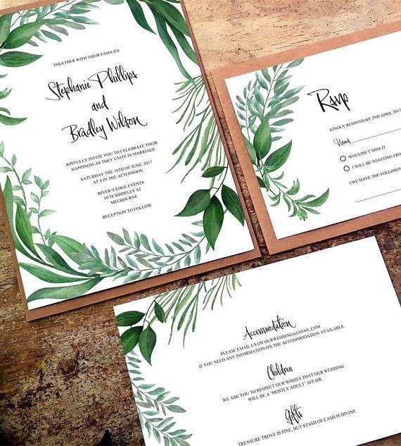 Printable Greenery Invitations Wedding Instant Greenery Botanical Leaf Suite Editable Greenery Download Leaf Invite Template Wreath Set Wedding Invitations Free Wedding Planning Checklist Greenery Invitation