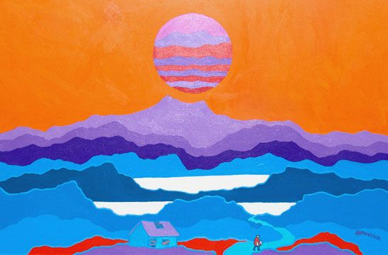 """Ted Harrison art """"Alone in the Great North"""""""