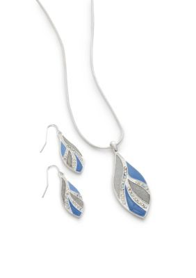 Kim Rogers Periwinkle Silver-Tone Periwinkle Teardrop Necklace and Earring Boxed Set