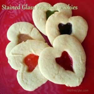 Stained Glass Window Cookies - sugar cookies with a melted candy in the center. Vary the shapes for different occasions: #valentinesday #Christmas #easter #4thofjuly #Olympics.