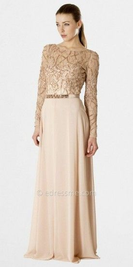 This long sleeved evening gown features a sheer, hand beaded bodice. The gown is…