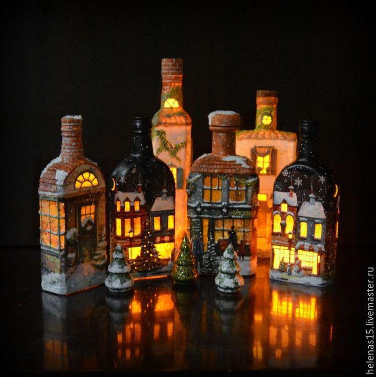 Купить Рождественские домики Бутылки-светильники - черный, рождество, рождественский подарок, рождественское украшение