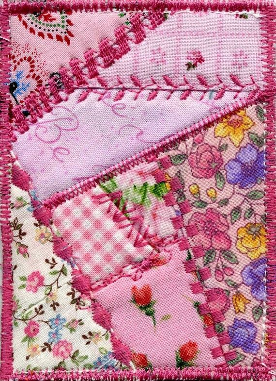 Make mug rugs like this in different colors..great way to use scraps and practice all those fun stitches on our machine that we never use!