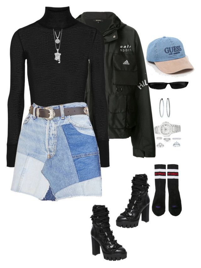 """""""Untitled #4596"""" by mollface ❤ liked on Polyvore featuring Yeezy by Kanye West, T By Alexander Wang, GUESS, Dsquared2, Vetements, De Beers, Patek Philippe, Mattia Cielo, Balmain and Tiffany & Co."""