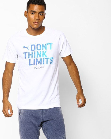 Buy Puma Men White Usain Bolt Inspired Printed Slim T-shirt | AJIO