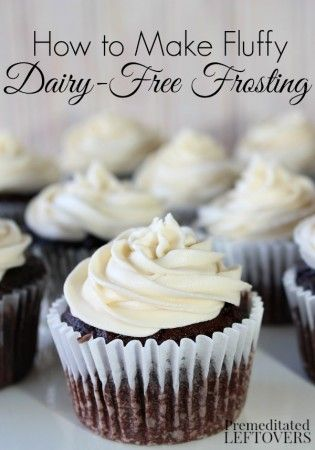"How to Make Fluffy Dairy-Free Frosting. Recipe and tips for making a smooth, creamy, and fluffy dairy-free ""buttercream"" icing. This frosting recipe is also soy-free."