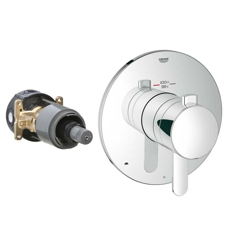 Grohe 19 878 Europlus / Cosmopolitan Dual Function Thermostatic Shower Trim with Starlight Chrome Faucet Thermostatic Valve Trim Double Handle
