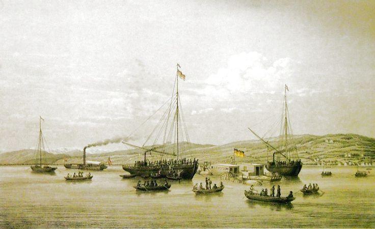 """BAUER Joseph Anton (1820-1904): """"Vyzdvižení lodě Ludwig 21.července 1863"""""""