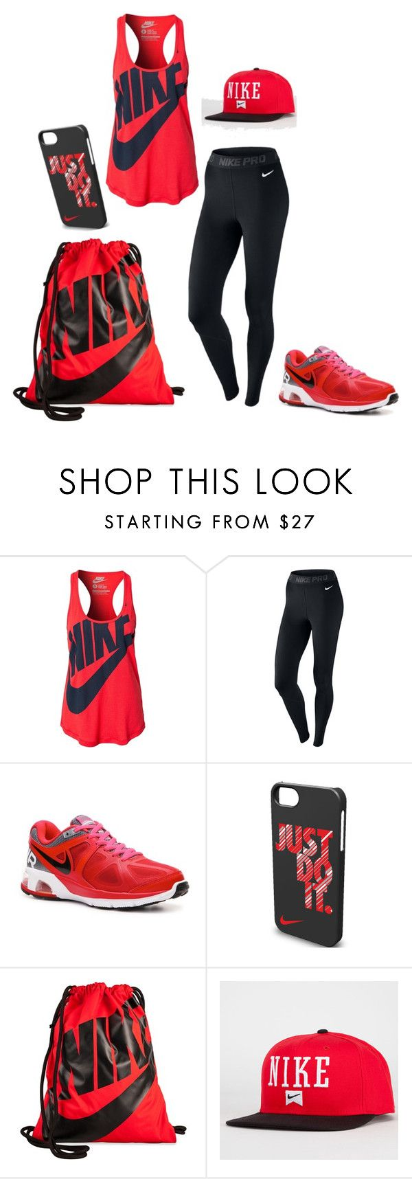 Red Nike by brennah on Polyvore featuring NIKE