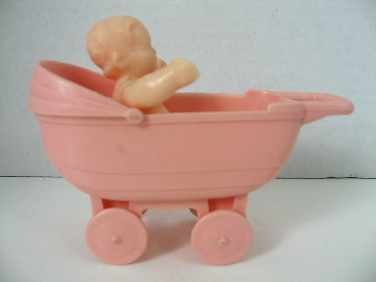 Doll House Miniature StampedThomas Vintage Carriage & Seated Hard Plastic Baby | eBay