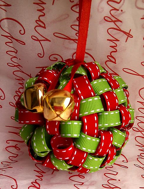 ribbon ornament (Pat: could do this in fabric strips!)
