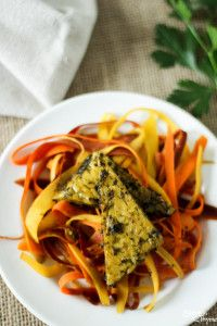 Chimichurri Baked Tempeh with Rainbow Carrot Ribbons - Steph in Thyme