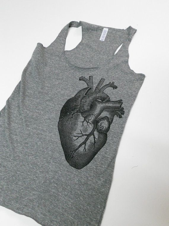 Anatomical Heart Illustration Racerback by countercouturedesign, $25.00