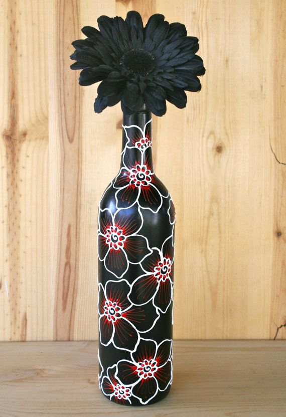 SUMMER SALE Hand Painted Wine bottle Vase Black with by LucentJane, $20.00