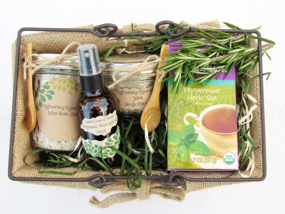 Spa Gift Basket| Relaxation Gift|Stress Relief|Organic Gifts| Refreshing Rosemary |Gift For Him| Employee Gift| New Mom Gift| Spa Set| Gifts on Etsy, $65.00