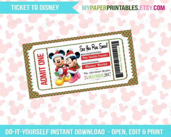 Welcome to My Paper Printables!  Surprise your loved ones with a trip to Disney with a personalized Ticket/Boarding Pass to Disney World or Disneyland!  Easily edit Name, Destination and Date on the ticket using Adobe Reader (FREE) or Pic Monkey (FREE) and re use ticket as many